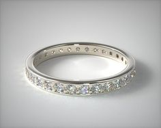 35849 wedding rings, womens diamond, 18k white gold 0.61ct pave diamond eternity band item - Mobile