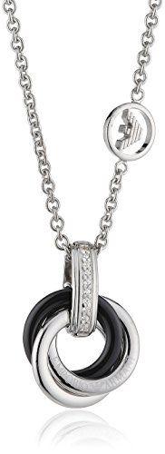 Emporio Armani Damen Halskette 925 Sterling Silber Zirkonia 45 cm weiß EG2735040