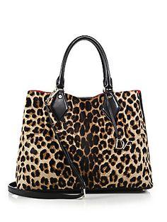 Diane von Furstenberg Voyage Large Leopard-Print Calf Hair