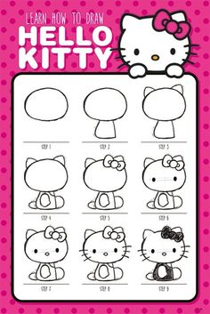 Hello Kitty - How to Draw - Official Poster. Official Merchandise. Size: 61cm x 91.5cm. FREE SHIPPING