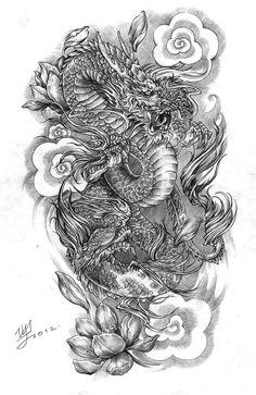 oriental dragon арт для тату