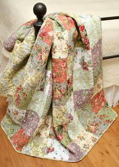 Blooming Cottage Florals Patchwork Quilt Throw... your kinda colours mother dearest @EQ Sherlock Gatt?