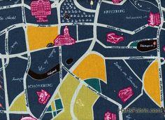 Japanese Import Light Weight Cotton Linen Euro Map Print Fabric