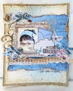 Here is a layout I made for Mistra (one of my DT girlies) using my Natural Beauty paper line, my new dies from Spellbinders and my new stamps.