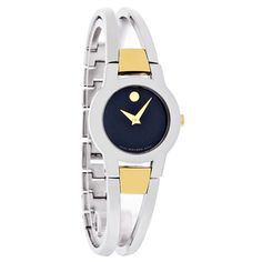 Movado Amorosa Ladies Two-Tone Bangle Bracelet Swiss Quartz Watch 0604760 Bangle Bracelets, Bracelet Watch, Bangles, Black Museum, Women's Dress Watches, Stainless Steel Case, Quartz Watch, Stuff To Buy, Accessories