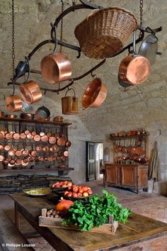 collection of french copper pots and pans