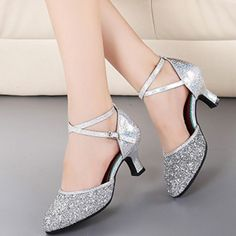 Sequins Ankle Cross Strappy Latin Dance Shoes - OASAP.com