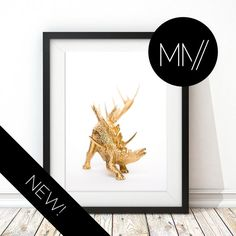 Modern Nursery Print Gold Dinosaur Print Photographic by ModMenage