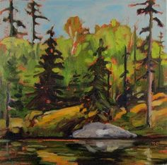 """Daily Paintworks - """"Quiet Place, Sulphide Lake"""" by Nicki Ault"""