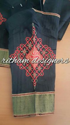 Blouse Designs Silk, Saree Blouse Patterns, Dress Neck Designs, Black Saree Blouse, Mirror Work Blouse, Lehenga Designs, Beautiful Blouses, Embroidery, Clothes For Women