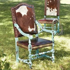 Crackled Turquoise Arm Chair | King Ranch