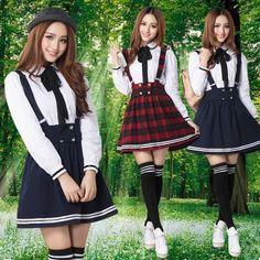 Japanese kawaii braces skirt + shirt two-piece outfit