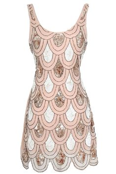 The West Egg Sequin Designer Dress reminds us of a 1920s flapper. It is made of a pale pink fabric with ivory and bronze sequins and tiny seed beads throughout and retails for $76.