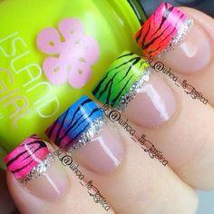 Nail Tip Designs, Fingernail Designs, Colorful Nail Designs, Nails Design, Art Designs, Zebra Nails, Neon Nails, Diy Nails, Sparkly Nails