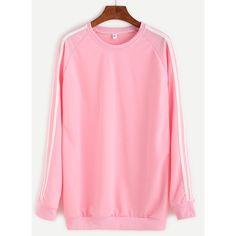 Pink Striped Raglan Sleeve Sweatshirt ($12) ❤ liked on Polyvore featuring tops, hoodies, sweatshirts, pink, stretch top, raglan sleeve sweatshirt, pink sweatshirts, stripe top and polyester sweatshirt