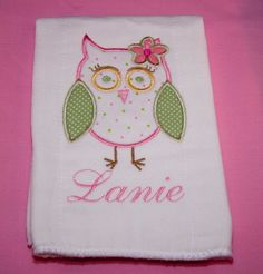 Embroidered monogram burp cloth southernsevendesignssy items similar to personalized girl owl burp cloth on etsy personalized baby gifts negle Gallery