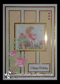 Delphinoid's Cards and Craft: Birthday Card - Angelica and Flowers