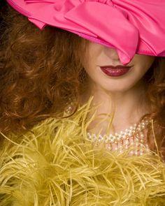 #beauty #fashion #girlwithapearlnecklace #moderntwist #portrait #redhead #fuschia #nikita #mysterious