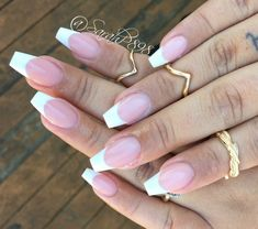Long french tip nails, white tip acrylic nails, french manicure a French Tip Nail Designs, Nail Art Designs, Long French Tip Nails, French Tip Acrylics, Nail French, Pink Acrylics, Bailarina Nails, Cute Nails, Pretty Nails