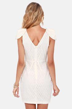 Fine Dining Cream Lace Dress at LuLus.com!