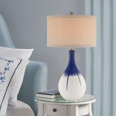 Evolution Catalina 19062-001 Cobalt 30-inch 3-way Table Lamp with Ombre Glaze Linen Drum Hardback Shade