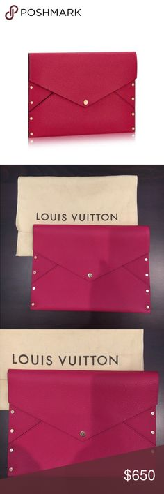 Louis Vuitton Enveloppe Rivet, Fuchsia Sold out! Inspired by the leather envelopes in which Nicolas Ghesquiere sends invitations to LV fashion shows, this elegant pouch in soft calfskin is decorated with shiny golden rivets. • Beautiful fuchsia calf leather • Contrasted calf leather lining (pretty taupe color) • Shiny gold rivet detail • Excellent condition, never been used (there is one tiny leather discoloration spot on back of clutch and light surface wear on center snap rivet) • Comes…
