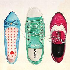 Ilustração para Revista DM (by Débora Islas | PORTFOLIO) Makes me want to draw my shoes!