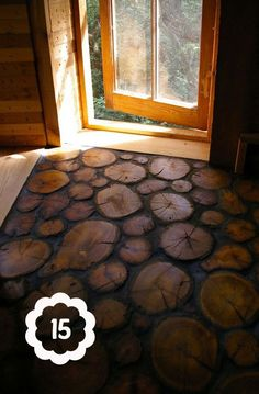 """Real wood log slices are sealed and embedded into a base to make this wonderful rustic """"wood tile"""" floor lovely for the cabin in the woods Home Design Decor, House Design, Home Decor, Floor Design, Interior Design, Design Ideas, Design Design, Tile Design, Rustic Design"""
