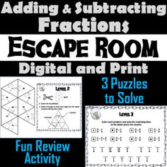 This breakout escape room is a fun way for students to test their skills with one and two step equations. Contents: ♦ Teacher Instructions and FAQ ♦ 3 Levels to decode: Maze Decoder, Tarsia Puzzle, and Message Decoder ♦ Student Recording Sheet and Teacher Escape Room, Adding And Subtracting Polynomials, Improper Fractions, Dividing Fractions, Integers, Multiplication, Multiplying Decimals, Equivalent Fractions, Percents