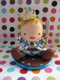 Fofinhos para meus fofinhos! by Patricia Tiyemi ^.^, via Flickr Polymer Clay Figures, Fondant Figures, 1st Year Cake, Little Prince Party, Cute Clay, Clay Figurine, Fondant Toppers, Pasta Flexible, Novelty Cakes