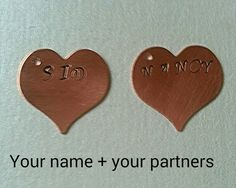 I Love You  Couples Hand-Stamped Key Chain or by PopCultArt