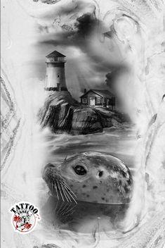 Nordsee Ostsee Leuchtturm Robbe Meer Wellen Tattoo Tattooinsel Pinguin Tattoo, Tattoo Motive, Tattoos, Lighthouse, Abstract, Artwork, Surrealism, Sea Waves, Donkeys