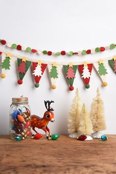 Celebrate the holidays on your mantle or favorite shelf with this cozy wool felt banner!