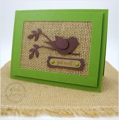 Burlap Card, Burlap Ribbon, Fabric Cards, Bird Cards, Stamping Up Cards, Get Well Cards, Handmade Birthday Cards, Masculine Cards, Sympathy Cards