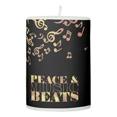 Charming Monogram, Gold Peace And Music Pillar Candle