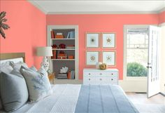 Look at the paint color combination I created with Benjamin Moore. Via @benjamin_moore. Wall: Coral Gables 2010-40; Trim: Wind's Breath OC-24; Bookcase Back Wall: Silhouette AF-655; Ceiling: White Heron OC-57.