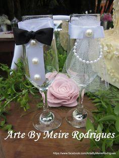 taças decoradas noivos