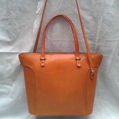 Handstitched Leather Shoulder Bag/Zippered Tote Bag