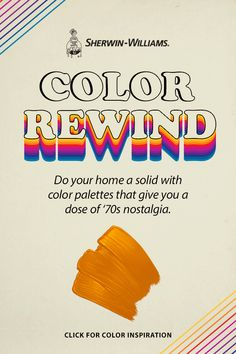 Far out '70s style is as close as your nearest Sherwin-Williams store. This groovy paint palette features colors that defined an era of peace, love and lava lamps. Bring that vibe to your home with colors like Navel SW 7582, Gorgeous White SW 6049, Garden Spot SW 6432, Bora Bora Shore SW 9045, Mauve Finery SW 6282, Palm Leaf SW 7735, Honey Bees SW 9018, Grape Harvest SW 6285, Snowbound SW 7004, Parakeet SW 6711 and Greek Villa SW 7551. #sherwinwilliams #1970 #70s #retro #retrodecor