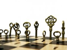 The Skeleton Key Chess Set uses actual brass keys as pieces, each one 'locking' into place as they move from square to square.
