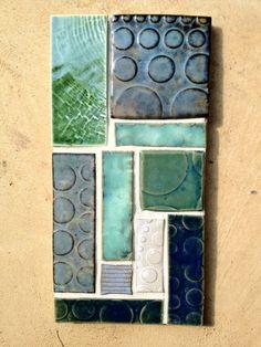 Ceramic Abstract Minimalist  Modular Tile Mosaic Collage.. $38.50, via Etsy.