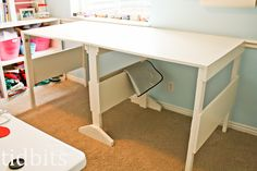 DIY folding craft table.  I don't have the time, space, tools, or skills for this.  But I'm posting it anyway, in case one of my more carpentry-savvy friends would like to make one. Via apartment therapy.