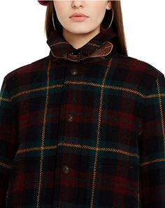 plaid jacket with leather throat latch by polo ralph lauren