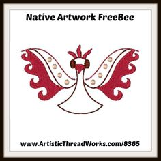 "Download this free design from our ""Native Artwork"" set today... Nancy Smith, Bird Applique, Free Machine Embroidery Designs, Pretty Flowers, Free Design, Baby Animals, Nativity, Butterfly, Retro"