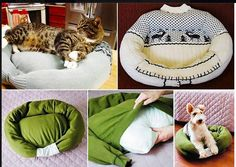 DIY cat bed  Out of an old sweat shirt a comfy cat bed was created. Fun project for the kids.I love Pinterest! ~ Sarah