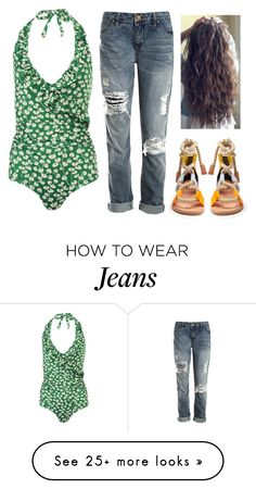 """""""Boyfriend jeans on the beach"""" by aby-ocampo on Polyvore featuring Ganni, Sans Souci and Pierre Hardy"""