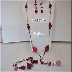 Set collana, bracciale e orecchini in acciaio e pietre di agata e cristalli #necklace