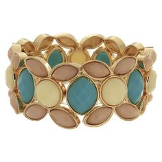 Women's Fashion Bracelet with Stones-- Gold/Ivory