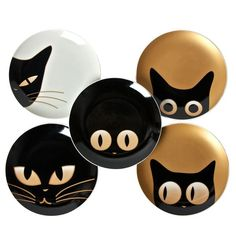 Look at those eyes! These mini plates feature cute cari-cat-ures with the focus on kitty's expressive eyes. A fun collectible for yourself or for the cat-loving crowd. <br> <ul><li> Mini plates with 5 different cat eye expressions </li> <li> Use for dining or display</li> <li> Glossy finish bone china </li> <li> Dishwasher and microwave safe </li> </ul>