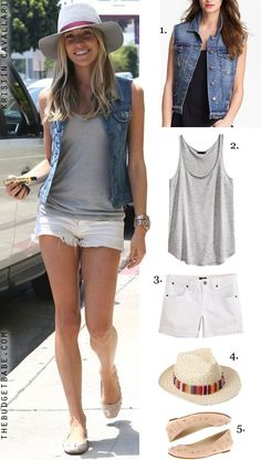 Dress by Number: Kristin Cavallari's Denim Vest and Cut-Offs - The Budget Babe